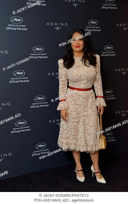 Salma Hayek (dress by Gucci) Photocall of the event 'Women in Motion' at the Hotel Majestic 71st Cannes Film Festival May 13, 2018 Photo Jacky Godard