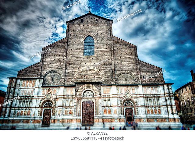San Petronio church in hdr, Bologna