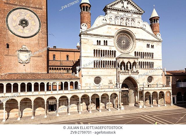 The Duomo di Cremona or cathedral. The cathedral of Cremona dates from the early 12th century and features elemnst of Gothic