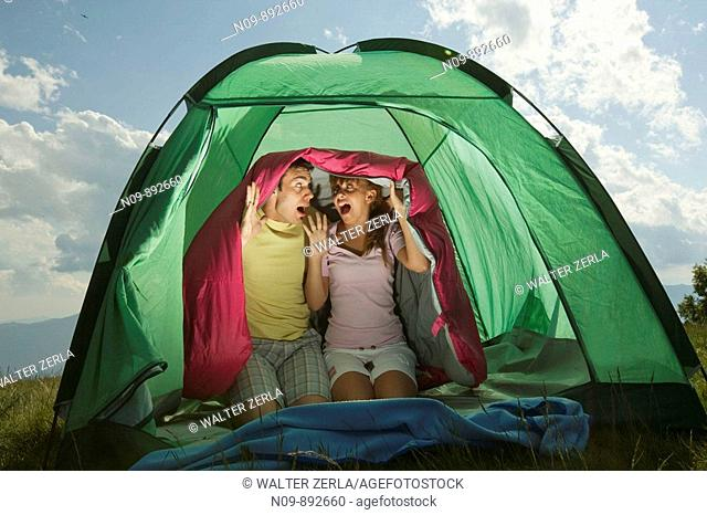 Happy Couple Camping