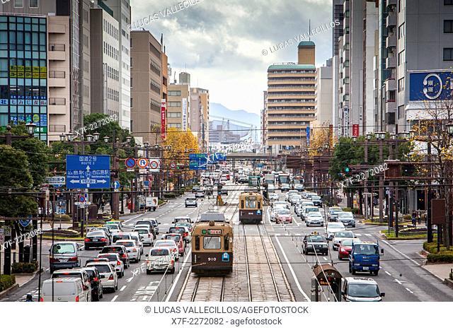 Street scene, Rijo dori Ave, Hiroshima, Japan