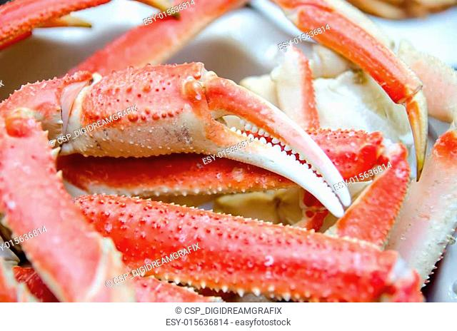 king snow crab legs ready to eat closeup