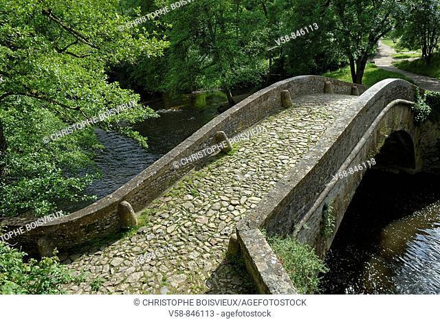 Old bridge over the Cure river, Pierre-Perthuis, Parc Naturel Regional du Morvan, Yonne, France