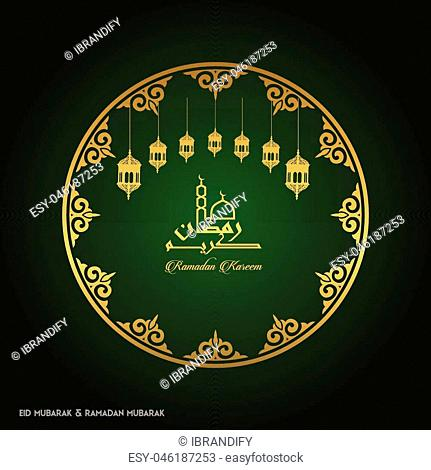 Ramadan Kareem Creative typography in an Islamic Circular Design on a Green Background