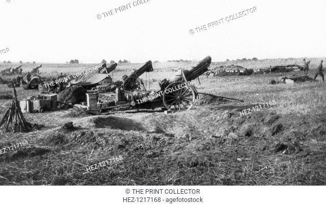 American 155th artillery battery, south of Soissons, France, 18 July 1918. The Battle of Soissons, which was fought between 18 and 22 July 1918