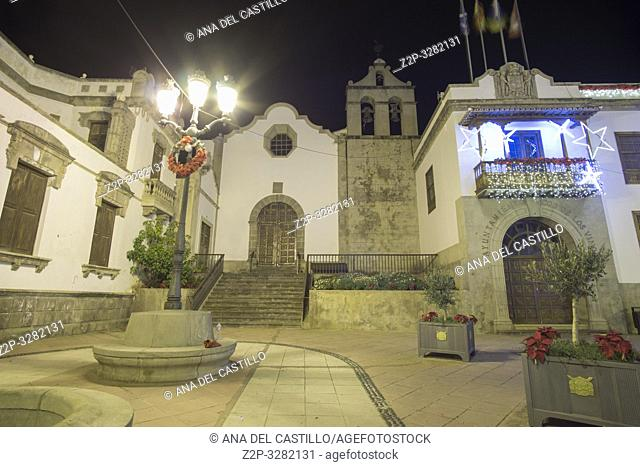 Icod de los Vinos by night Tenerife Canary islands Spain on January 3, 2019. The city hall Christmas time