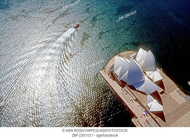 Aerial view of Sydney Harbor & Opera House, Sydney, Australia