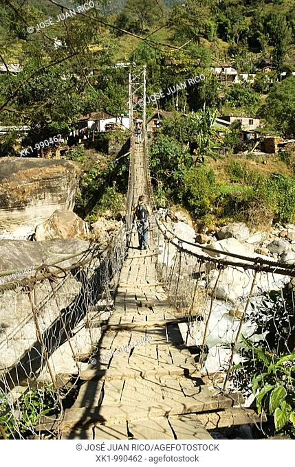 suspension bridge in the region of the Annapurna, Nepal