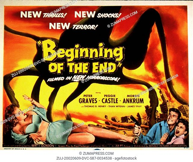 1957, Film Title: BEGINNING OF THE END, Director: BERT I GORDON, Studio: REPUBLIC, Pictured: PEGGY CASTLE, PETER GRAVES, ITS & ALIENS! THINGS, LINGERIE