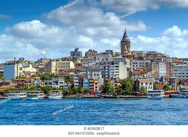 View of Istanbul Beyoglu area with Galata Tower from Bosphorus, Turkey
