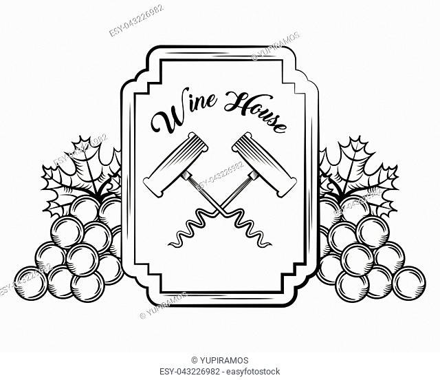 wine card cross corkscrew engraving vintage bunch grapes decoration vector illustration