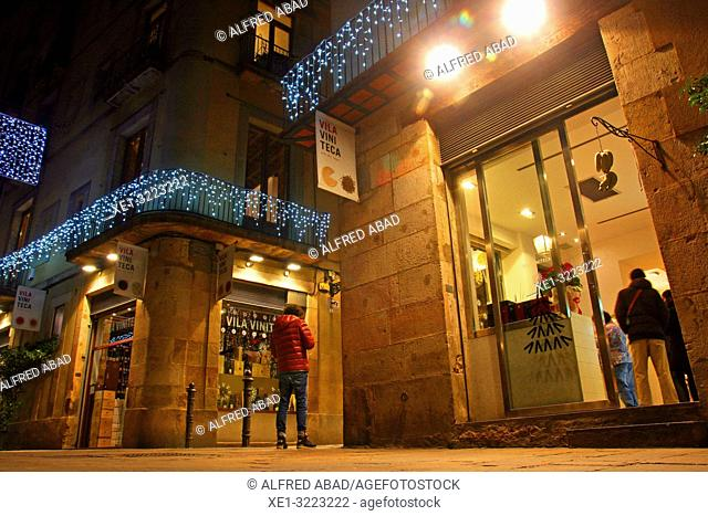 Street scene with christmas lights. El Born district, Barcelona, Catalonia, Spain