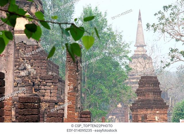Ancient pagoda in Wat Jed Yod in Si Satchanalai historical park