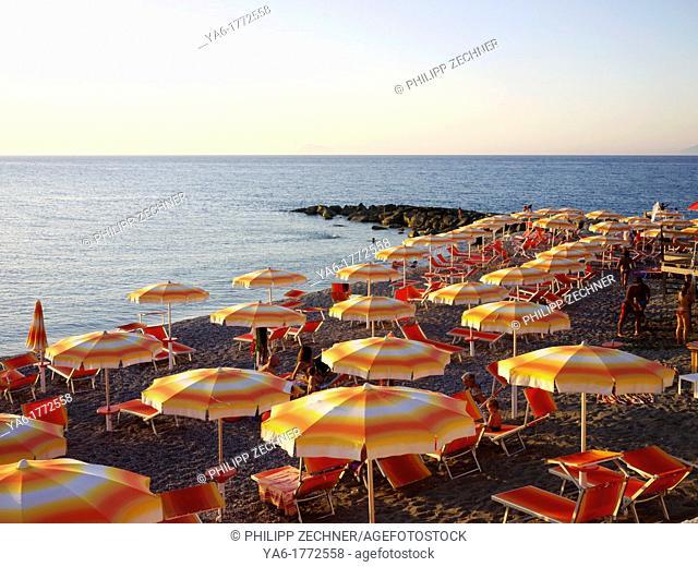 Sun umbrellas at a beach at Capo d'orlando, Siciliy