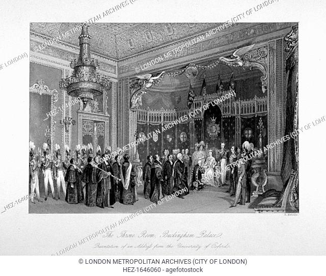 Interior view of the throne room, Buckingham Palace, Westminster, London, c1840. Showing the presentation of an address from the University of Oxford to Queen...