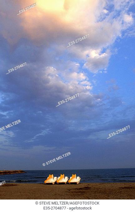 Sunset on the Mediterranean coast at les Saintes-marie de la mer
