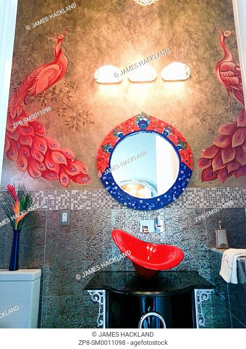 A fancy colourful bathroom in an expensive house in Vaughan, Ontario, Canada