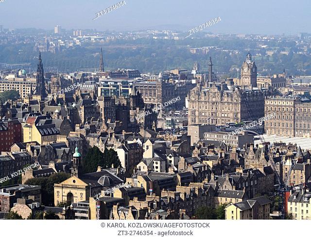 UK, Scotland, Edinburgh, Holyrood Park, View towards the city center