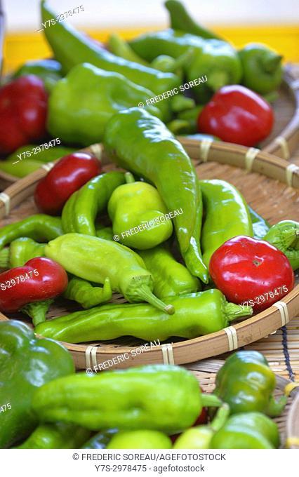 Green hot chili peppers,Takayama,Gifu Prefecture,Japan,Asia