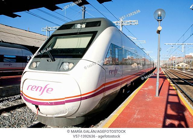 Platform and train, Campo Grande Railway Station. Valladolid, Castilla León, Spain