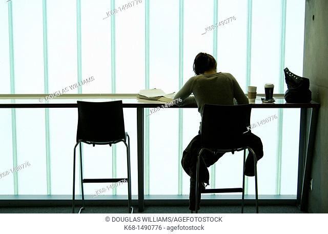 student studies at Langara College, Vancouver, BC, Canada