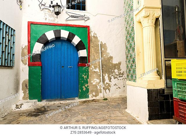 Traditional door in the Medina of Hammamet Fort (Kasbah) Hammamet, Nabeul Governorate, Tunisia