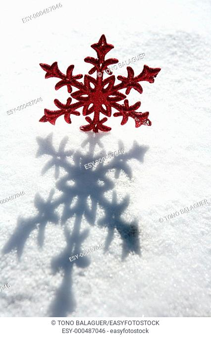 Christmas red star in a snow day  Xtmas card