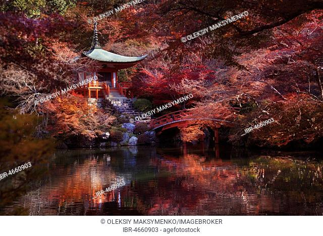 Bentendo Hall with a bridge over a pond at Daigo-ji temple, red colorful autumn scenery surrounded by Japanese maple trees, Shimo-Daigo part of Daigoji complex