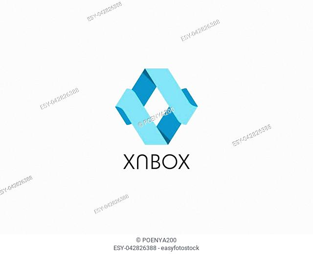 abstract arrow geometric hexagonal cube box logo icon for corporate business, apps, data technology. symbol template Vector illustration
