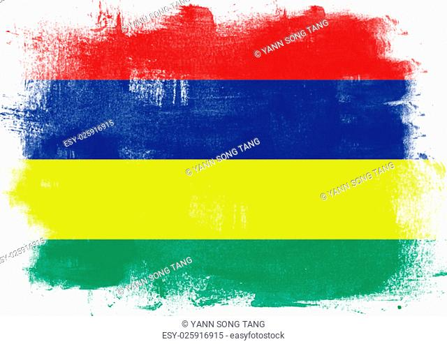 Flag of Mauritius painted with brush on solid background