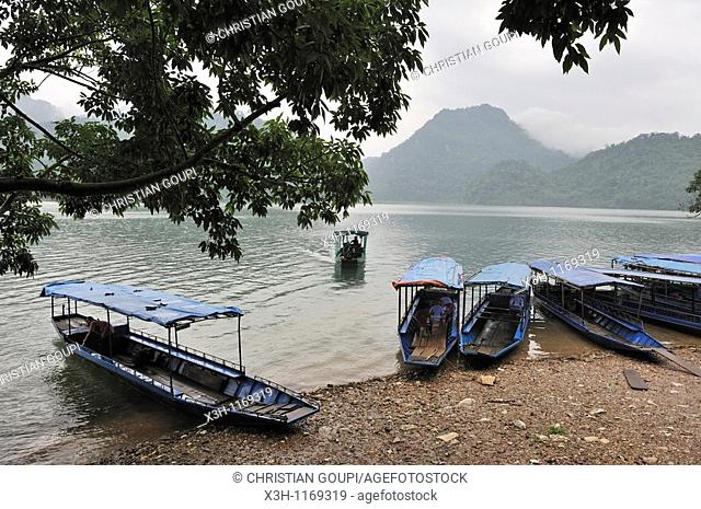 ferryboat to reach the villages of Ba Be Lake,Bac Kan province,Northern Vietnam,southeast asia