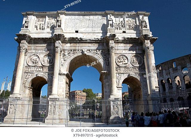 the victory Arch of Constantine next to the Colosseum Rome Lazio Italy