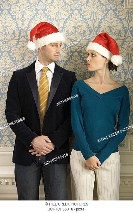 Couple in Santa hats