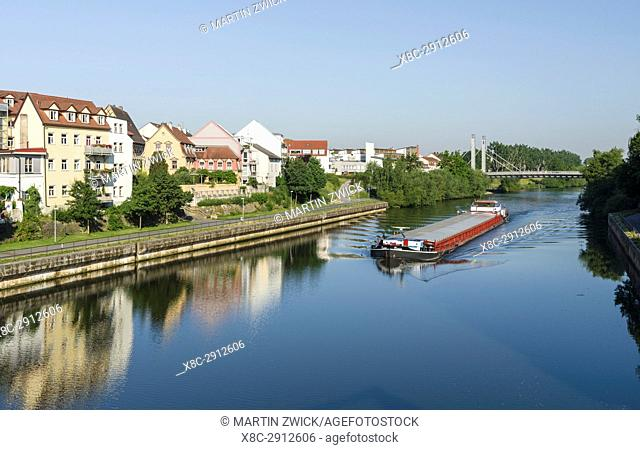 "The Main Donau Channel or the right arm of river Regnitz. Bamberg in Franconia, a part of Bavaria. The Old Town is listed as UNESCO World Heritage """"Altstadt..."