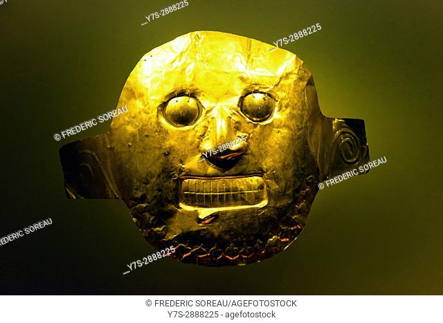 Pre Colombian gold work on display in the Museo del Oro,Gold museum,Bogota,Colombia