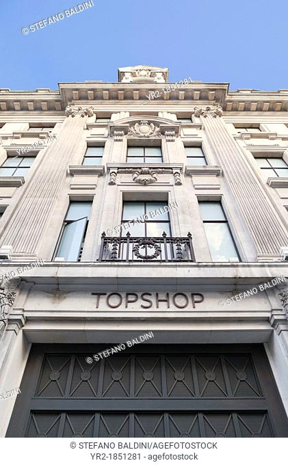 Topshop store front, Oxford Street, London, England