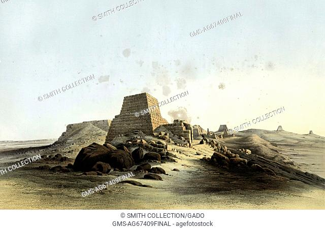 Pyramids of Meroe, Egypt, 1852. From the New York Public Library