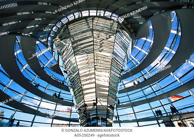 Bright column. Glass dome at the Parlament. Berlin. Germany
