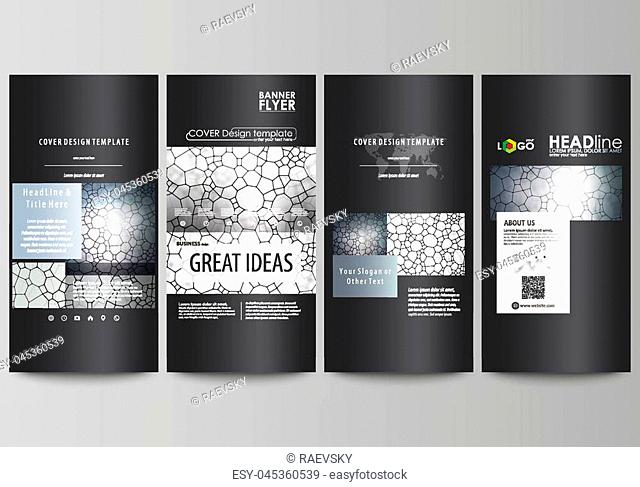 Flyers set, modern banners. Business templates. Cover design template, easy editable abstract vector layouts. Chemistry pattern, molecular texture