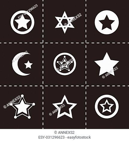Vector stars icon set on black background