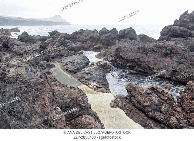 Atlantic coast in Biscoitos Terceira island Azores Portugal