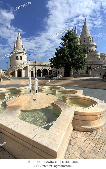 Hungary, Budapest, Fishermen's Bastion, Halászbástya, fountain,