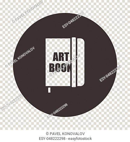 Sketch book icon. Subtract stencil design on tranparency grid. Vector illustration