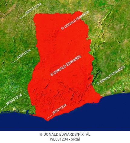 Highlighted satellite image of Ghana