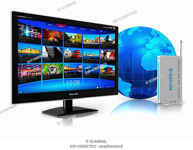 Internet television concept: widescreen TV with streaming video gallery, blue Earth globe and wireless router isolated on white reflective background***All...