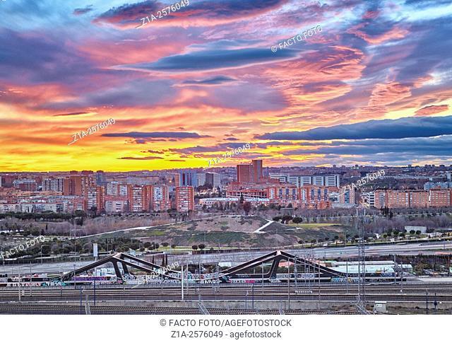 Villaverde neighborhood panoramic view. Madrid, Spain