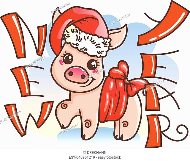 Happy New 2019 Year card with cartoon baby pig. Small vector symbol of holiday in santa hat