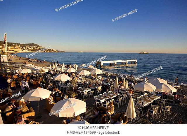 France, Alpes Maritimes, Nice, Baie des Anges Angels Bay, the beach