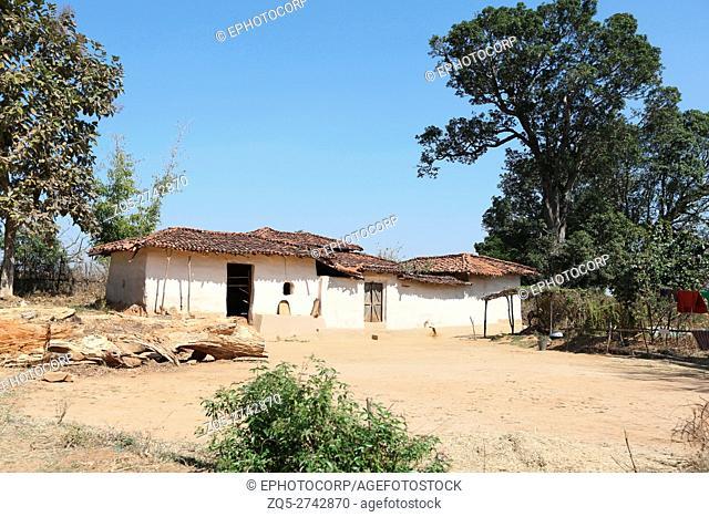 Traditional mud house, ORAON TRIBE, Purkela Village, Taluka Lundra, District Sarguja, Chattisgarh, India