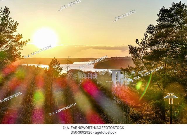Sunset views over Lake Malaren from Aspudden. Stockholm, Sweden